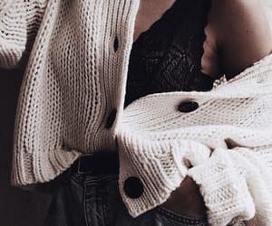 bralette, denim, and sweater image