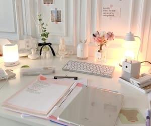 desk, pink, and room image