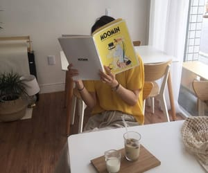 ulzzang, yellow, and coffee image