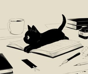 cat, art, and black image