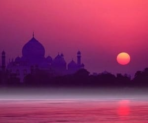 india, sunset, and pink image