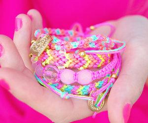 bracelet, pink, and nails image
