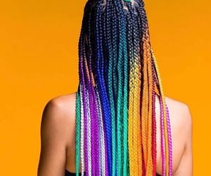 braids, girl, and rainbow image