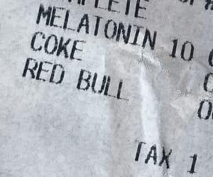 receipt, red bull, and melatonin image