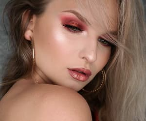 makeup, red eyeshadow, and glossy nude lips image