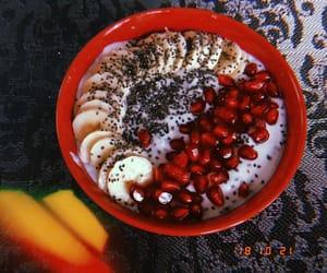 banana, healthy, and pomegranate image