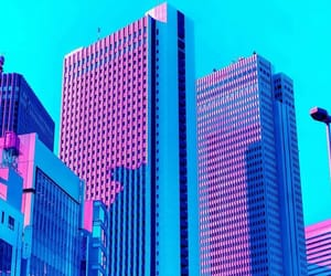 pink, art, and buildings image