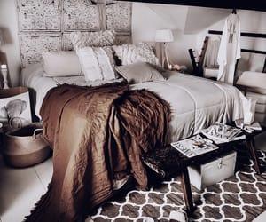 art, interior, and bedding image