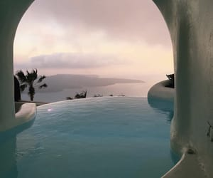 pool, travel, and santorini image