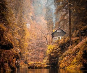 autumn, cabin, and stream image