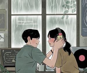 illustration, art, and couple image