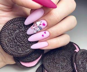 nails, oreo, and pink image
