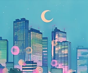 anime, moon, and city image