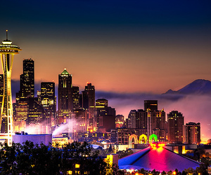 city, light, and seattle image