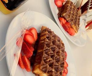 food, orange juice, and waffle image