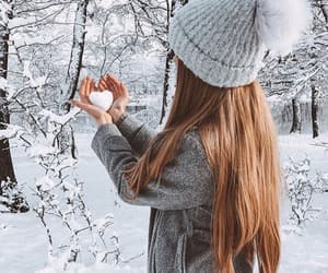 hat, heart, and snow image