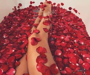 bath, tub, and roses image