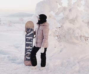 girl, snowboarding, and winter sports image