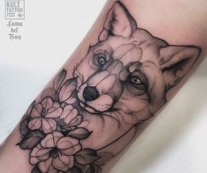 black, flower, and fox image