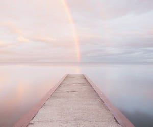 pastel, pier, and rainbow image