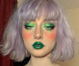 freckles, green, and makeup image