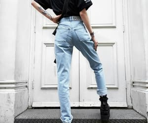blue jeans, chunky, and fashion image