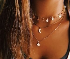 gold, necklace, and star image