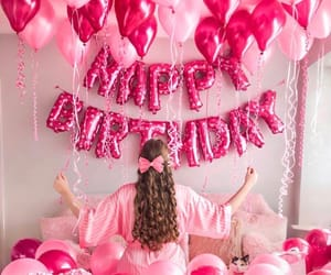 balloons, happy birthday, and pink image