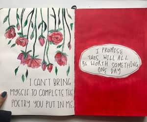 art, journal, and red image