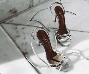 shoes, silver, and heels image