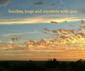hoodie, hug, and sunset image