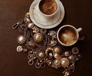 coffee, gold, and earrings image