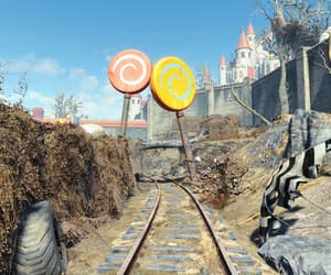 amusement park, fallout, and tracks image