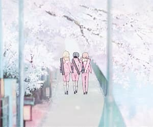 anime, cherry blossom, and anime scenery image