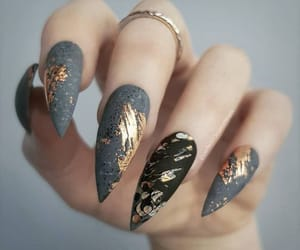nails, gold, and gray image