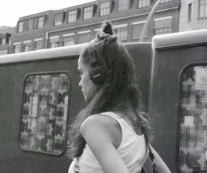 city, girl, and headphones image