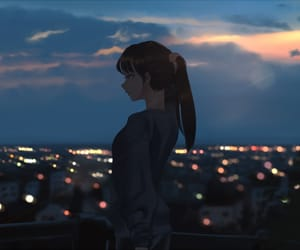 anime, art, and nightview image