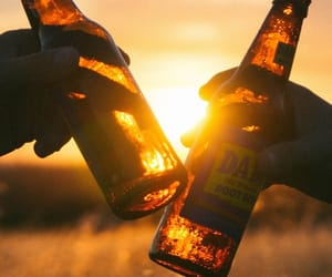 beer, sunset, and sun image