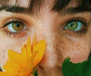 eyes, girl, and flowers image