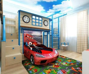 bed, bedroom, and car image