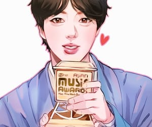 jin, rm, and fanart bts image