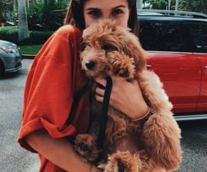 girl, puppy, and cute image