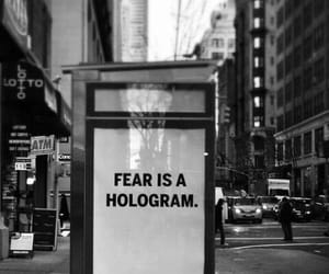 fear, hologram, and black and white image