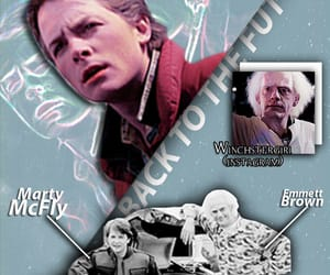 Back to the Future, marty mcfly, and emmett brown image