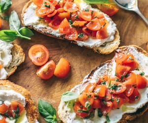 bread, cheese, and cherry tomatoes image
