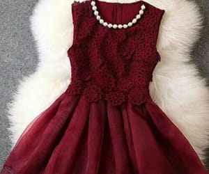burgundy, short dress, and cute image