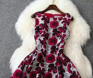 dress, red, and red roses image