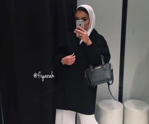 hijab black white, goal goals life, and sac bag bags image