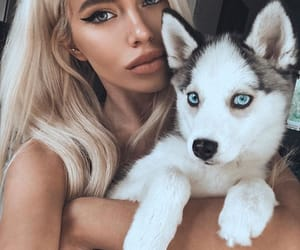 beauty, girl, and puppy image