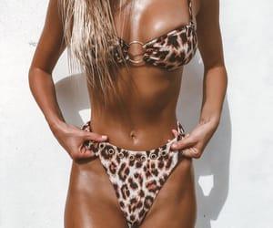 bikini, outfit, and tan image